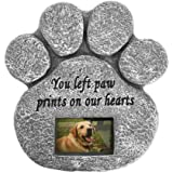 'You Left Paw Prints On Our Hearts' Paw Print Pet Memorial Stone with Customizable Photo Slot. Loss Of Pet Gift. Dog or Cat Memorial.