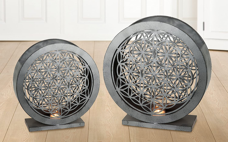 GILDE 1 x Windlicht Lebensblume Metall Glas antik grau Höhe 39 cm, Feng Shui, Beleuchtung, Tischdeko