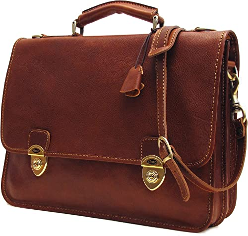 Floto Double Compartment Italian Leather Messenger Bag Briefcase