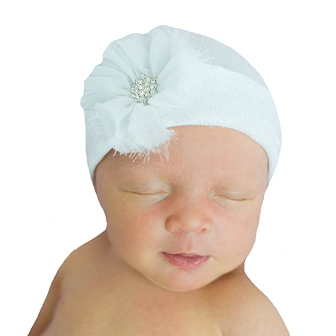 649a2512b9c Image Unavailable. Image not available for. Color  Melondipity s Newborn  Girl White Beanie with White Frayed Flower Nursery Hospital Hat