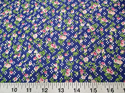 Discount Fabric Quilting Cotton Pink Peach and Green Floral on Blue K304