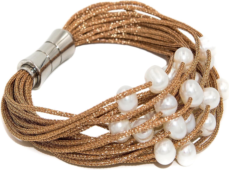 Secret & You Pulsera de Mujer de Perlas cultivadas de Agua Dulce de 6 a 6,5 mm Montadas en cordón de Tela Cierre magnético de Acero Inoxidable.