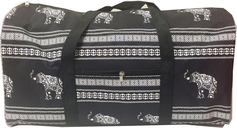 April Fashions Gym Dance Cheer Duffel Bag elephant Print Design black white