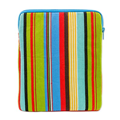 Novica Batik cotton tablet sleeve, Leafy Companion