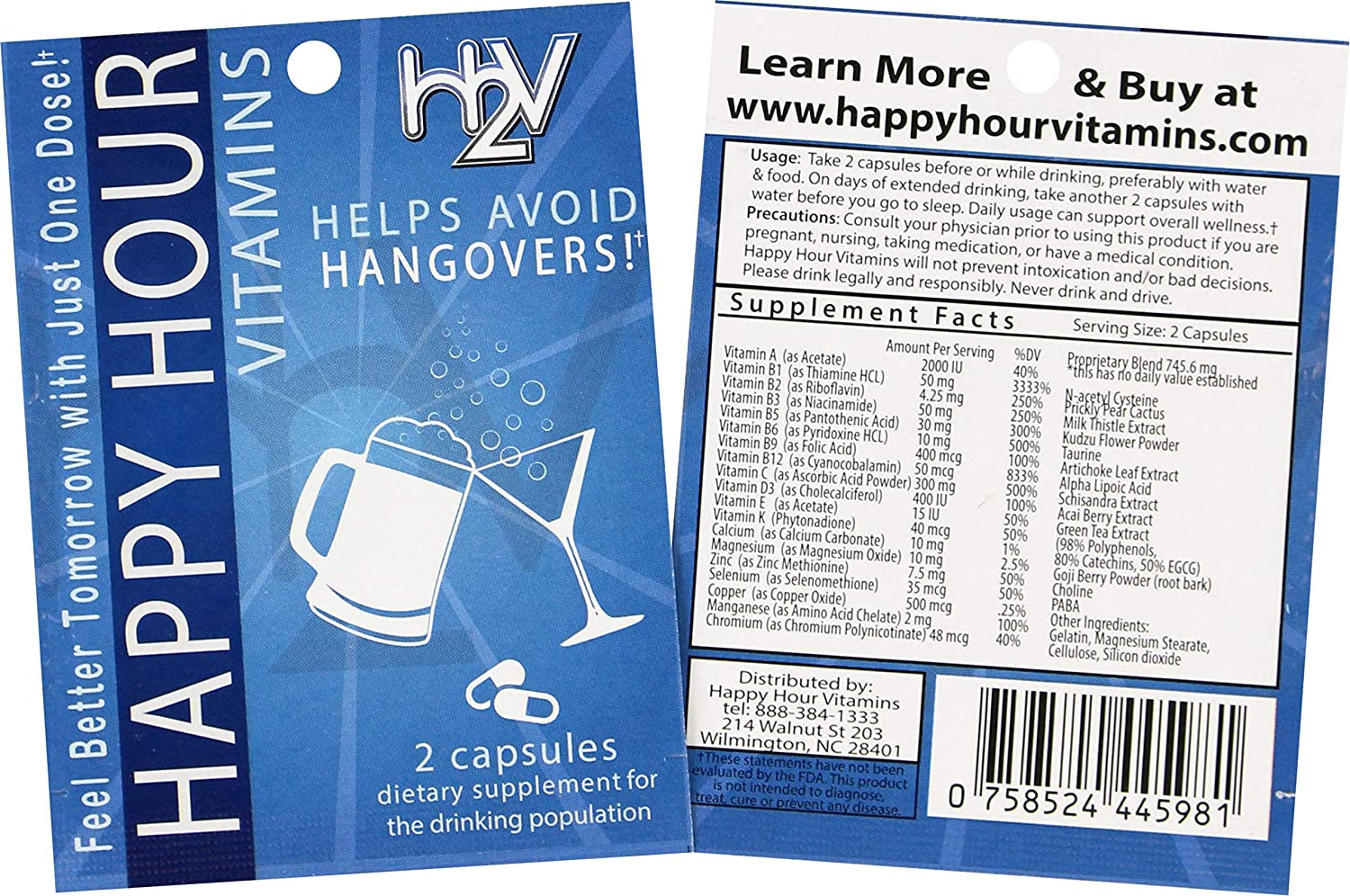 Amazon.com: Happy Hour Vitamins Formulated for Hangovers & Liver ...