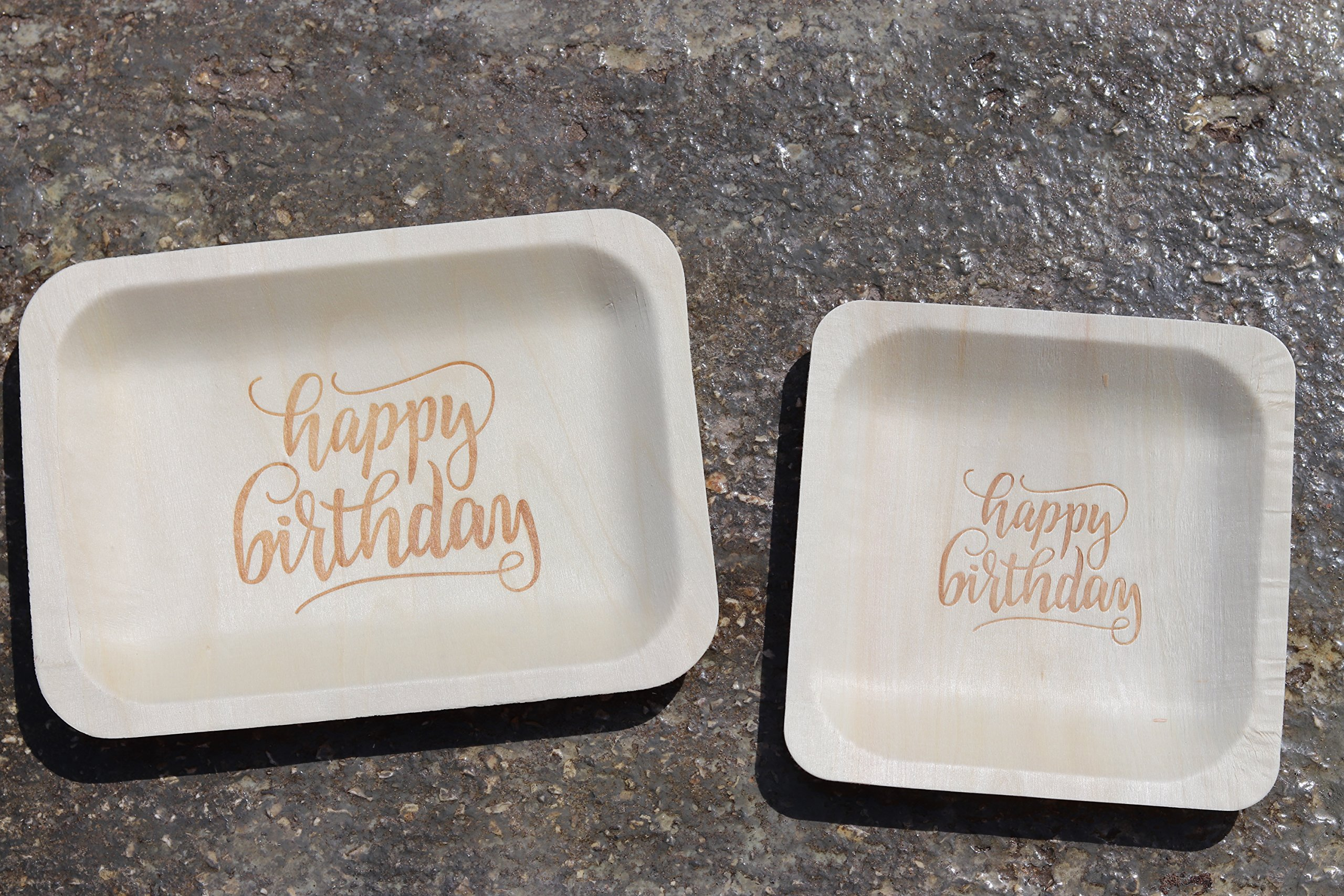 ''Happy Birthday'' StatementWare Disposable Birthday Plates (50-pack)—100% Natural and Eco-Friendly, Elegant Alternative to Happy Birthday Plates, Plastic Party Plates, and Cake Plates (7.5'' x 5.5'') by Wood & Wonder (Image #7)