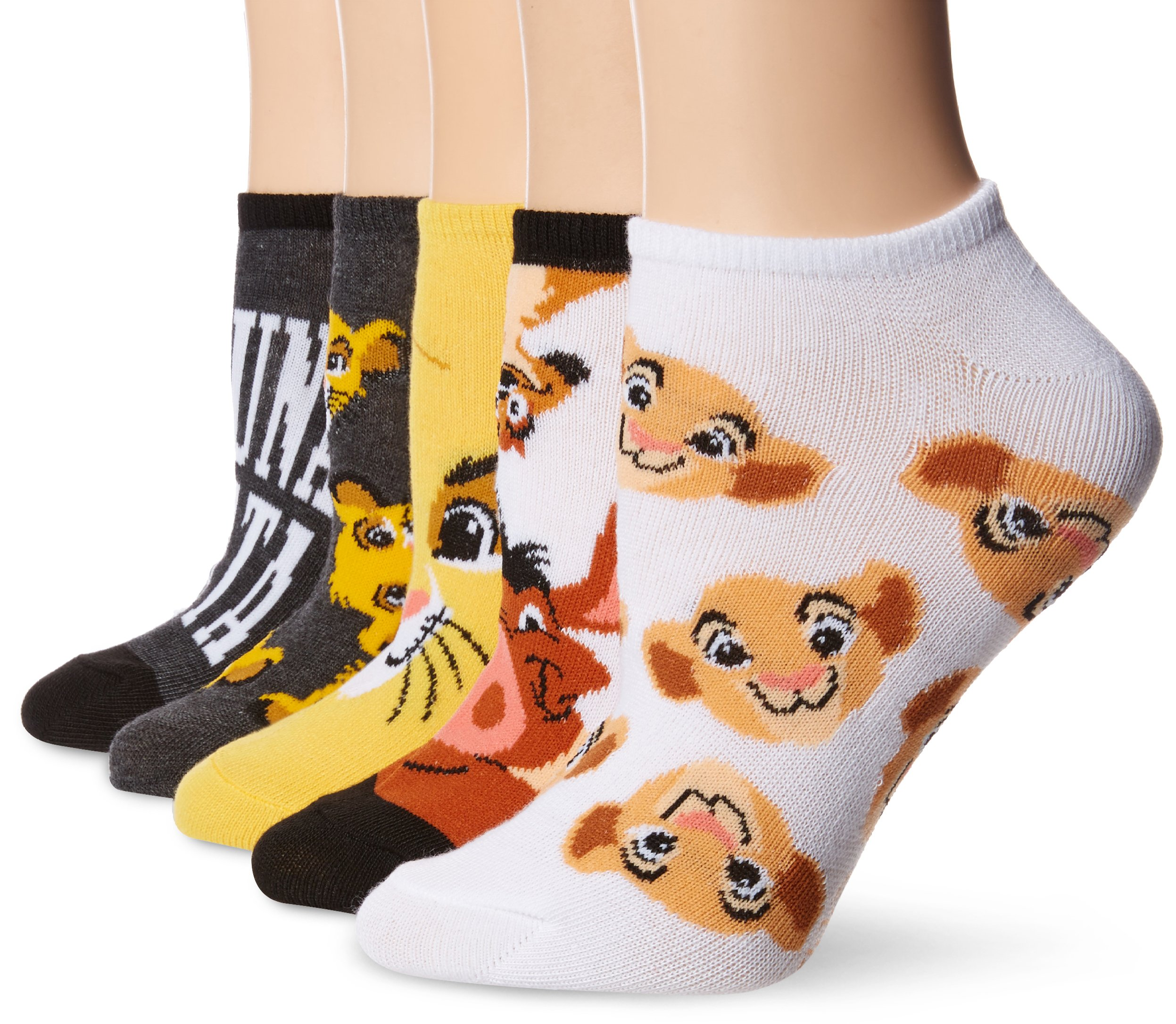 Disney Women's Lion King 5 Pack No Show Socks, Black Assorted, 9-11
