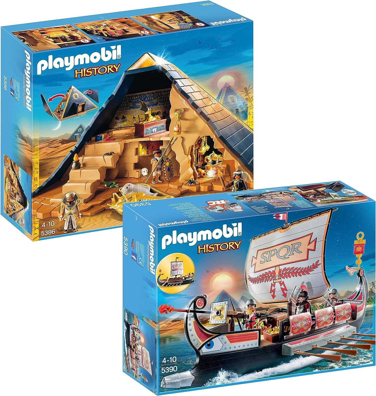 PLAYMOBIL Set 5386 Pirámide del faraón y 5390 Galera romana: Amazon.es: Juguetes y juegos