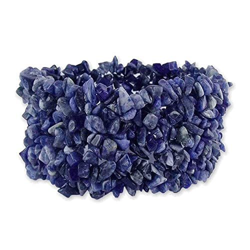 NOVICA Bright Blue Natural Sodalite Stone Wide Cuff Stretch Bracelet, Infinite Blue