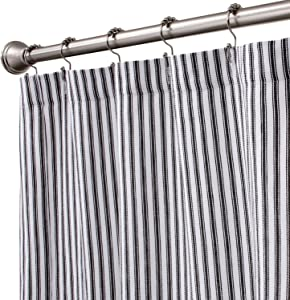 Cackleberry Home Black and White Ticking Stripe Woven Cotton Shower Curtain Extra Long 72 Inches W x 84 Inches L