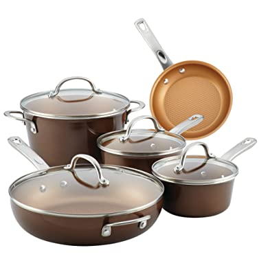 Ayesha Curry 10770 Home Collection Porcelain Enamel Nonstick Cookware Set, Large, Brown Sugar