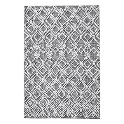 Amazoncom My Swanky Home Gray White Ivory Wool Geometric Diamond