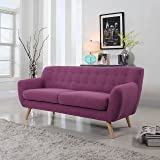 Mid-Century Modern Linen Fabric Sofa in Color Purple