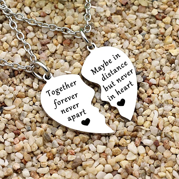 Daughter Heart Necklace Pendant Necklace with Message for Mother My Mom Forever Never Apart Maybe in Distance But Never at Heart Nebraska Kansas FamilyGift Mom and Daughter Necklace