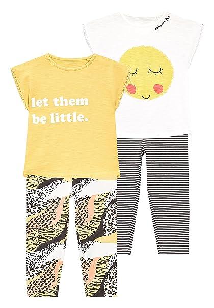 next Niñas Pack De Dos Pijamas con Leggings con Sonrisa (9 Meses - 8 Años
