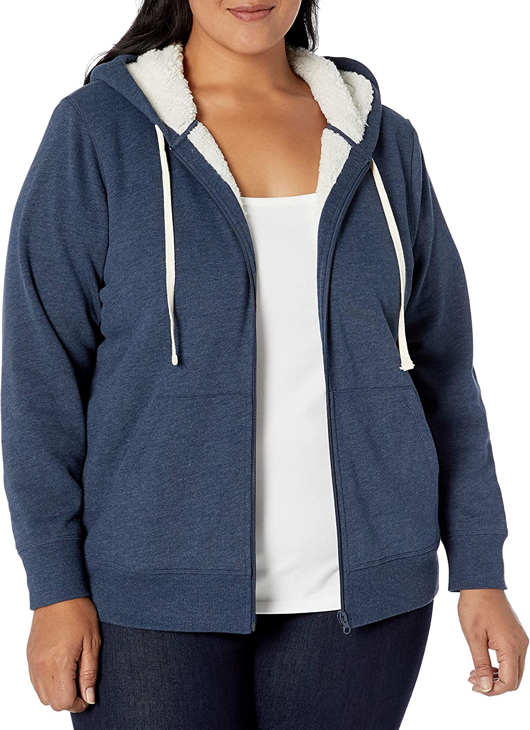 Essentials Plus Size Sherpa-lined Full-zip Hoodie fashion-hoodies Mujer