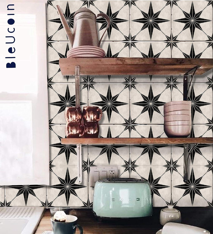 Bleucoin Peel and Stick Tile Positano Pattern   Premium Self-Adhesive Vinyl Sticker for Backsplash Countertop Bath Floor   Fun DIY for Home Decor (24 pcs, 4x4 Inch)