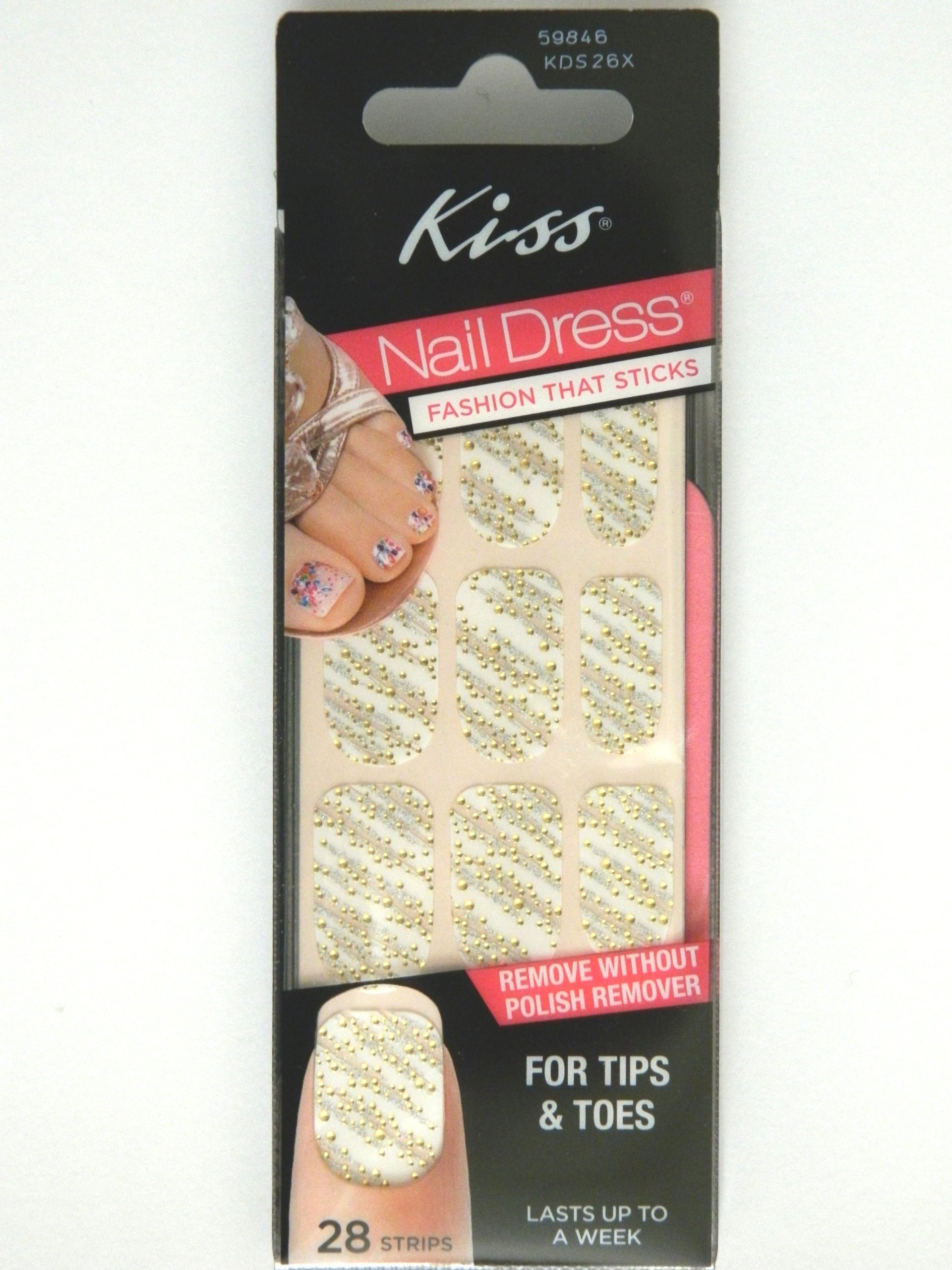 Amazon.com: Kiss Nail Dress For Tips & Toes Strips Gown - 28 CT ...