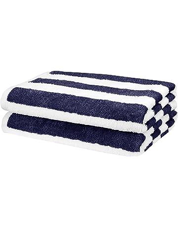 ca82cf5418f23 AmazonBasics Beach Towel - Cabana Stripe, Navy Blue, Pack of 2