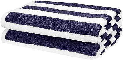 AmazonBasics 2 Piece Cotton Beach Towel, 60 x 30 (152.4 cm X 76.2 cm) - Cabana Stripe, Navy Blue