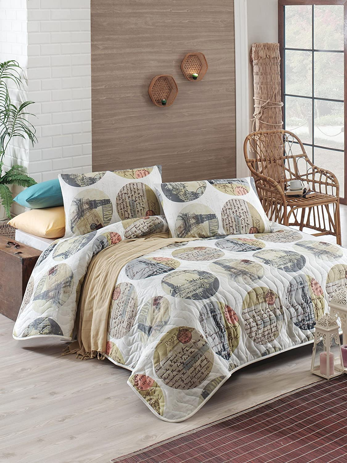 3 Pcs Soft Colored Full and Double Bed Size Bedroom Bedding 65% Cotton Double Quilted Bedspread Set 100% Fiber Filling Padded Paris Eiffel Tower France Love Romantic Colorful Circle Writing Bedspread LamodaHome 143EPJ9075