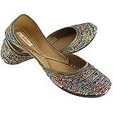 Fulkari Prime Colors Beads Women's Soft Leather Bite and Pinch Free Punjabi Flat Ladies Jutti Ethnic Mojari Shoe
