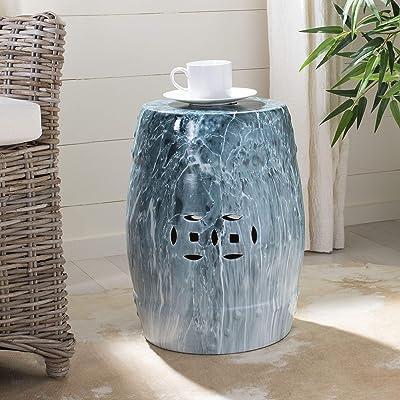 Safavieh ACS4571A Gilroy Ceramic Decorative Garden Stool, Blue Marble: Garden & Outdoor