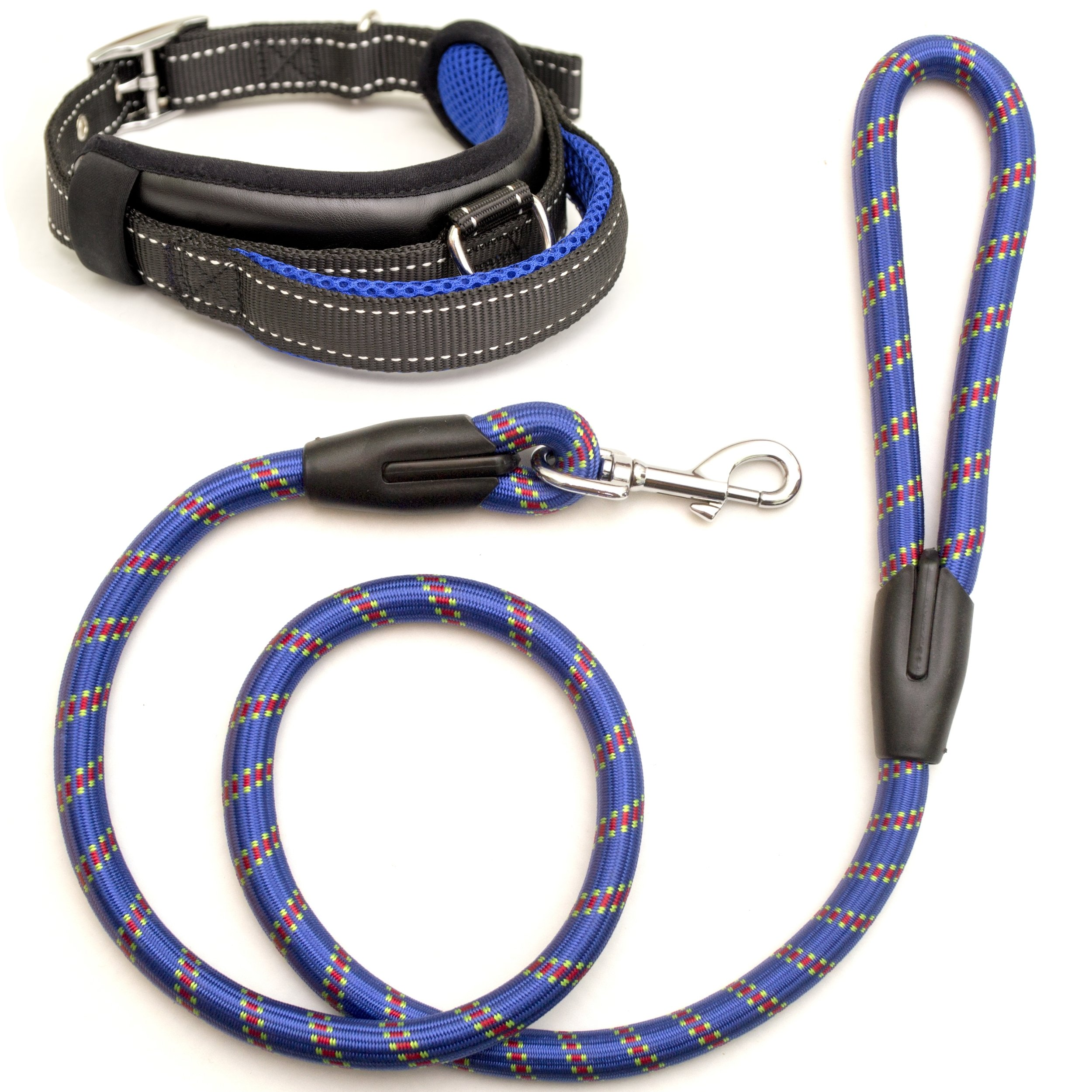 Kamooved Chew Resistant Dog Leash and Heavy Duty Collar – Strong Mountain Rope Leash Set for Medium and Large Breeds – Suitable for Training and Walking in Crowded Areas – Pet Owners Gift (Red) (Blue)