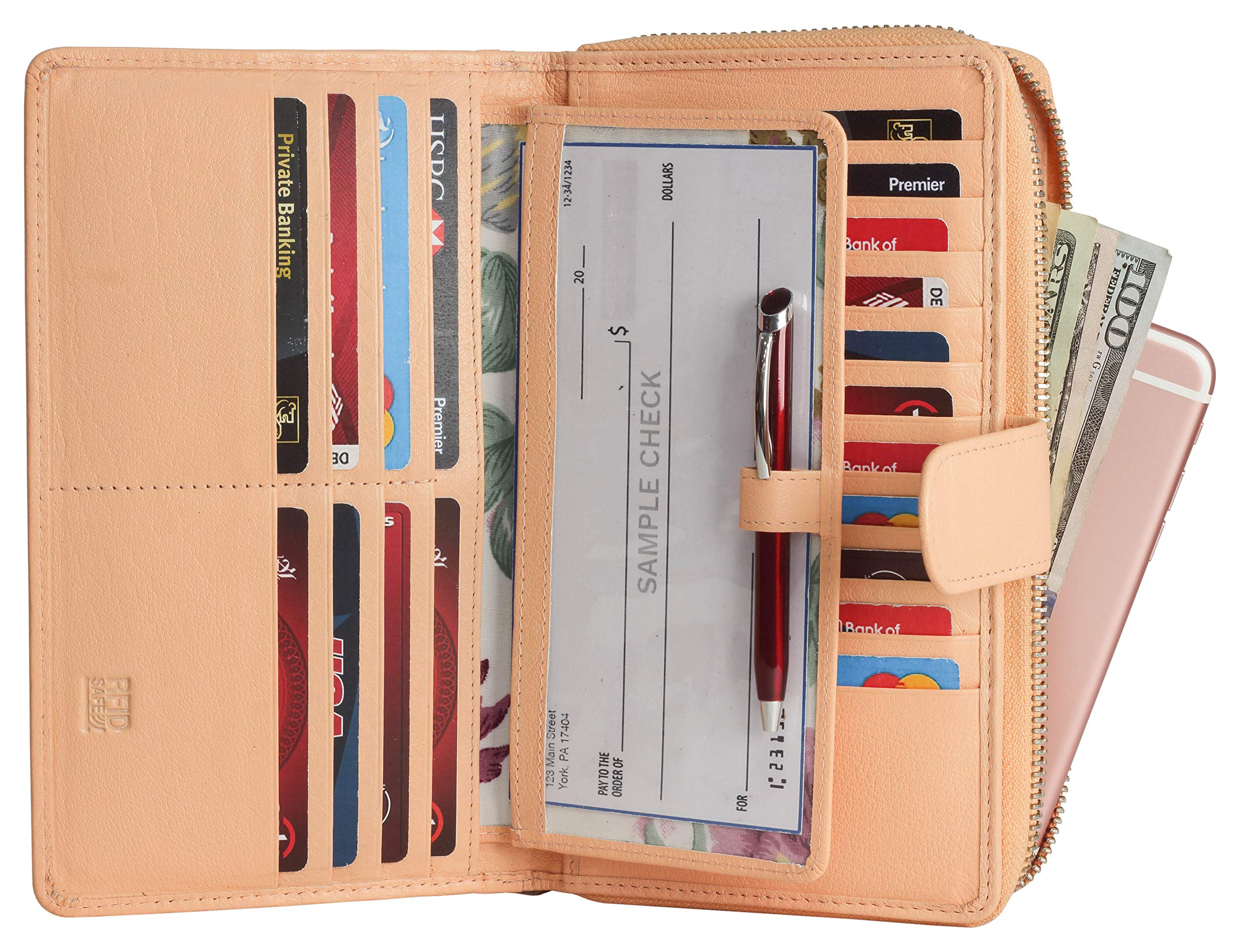 Mou Meraki Big Fat RFID Blocking Leather Organizer Checkbook Wallets For Women - Clutch