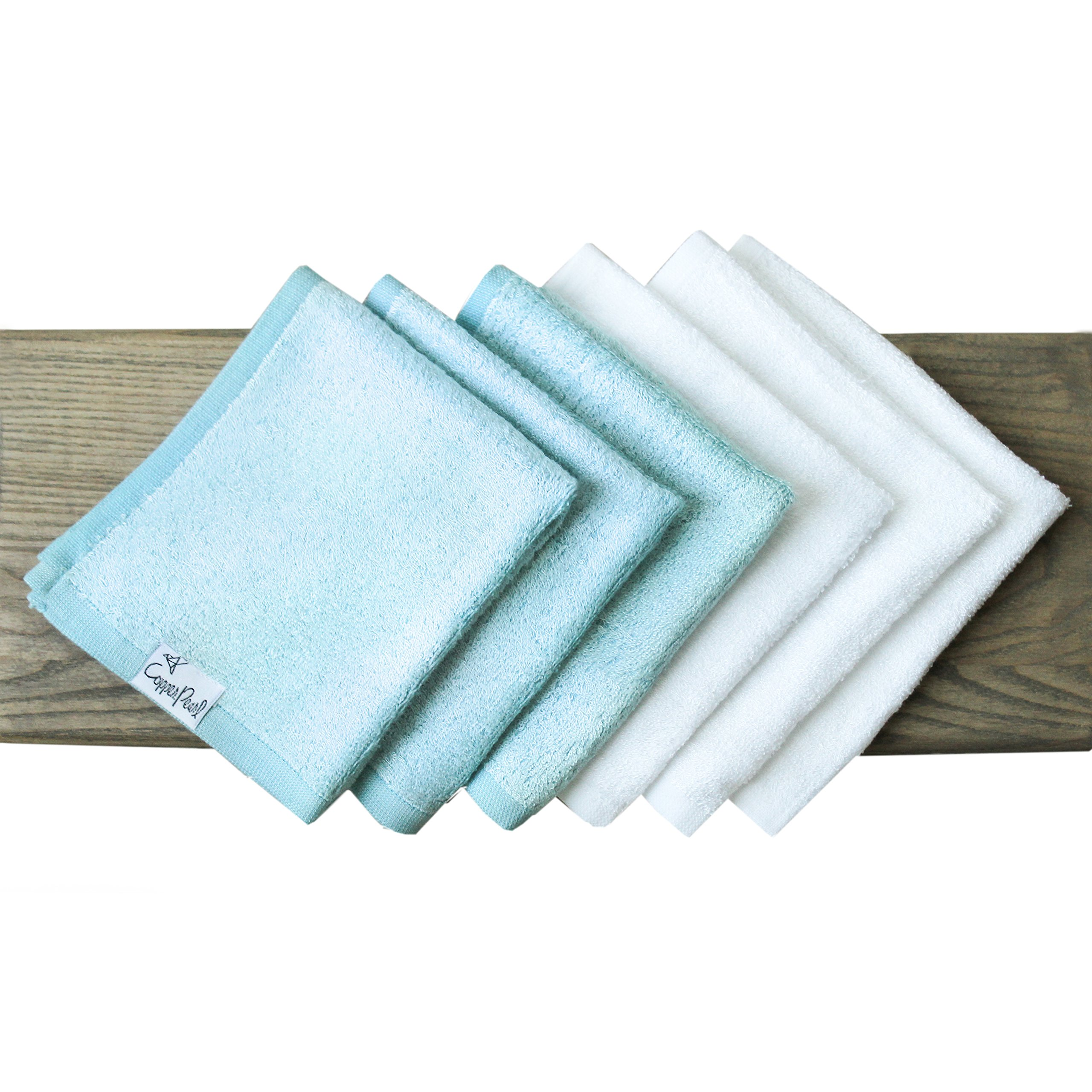 6 Baby Bath Washcloths Premium Large Soft White and Blue 11 x 11 inch Rayon from Bamboo Fibers Towels by Copper Pearl