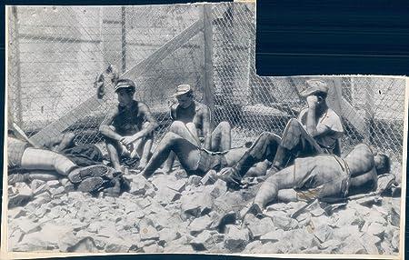 Vintage Photos 1945 Photo WW2 Prisoners German Rock Pile Solitary