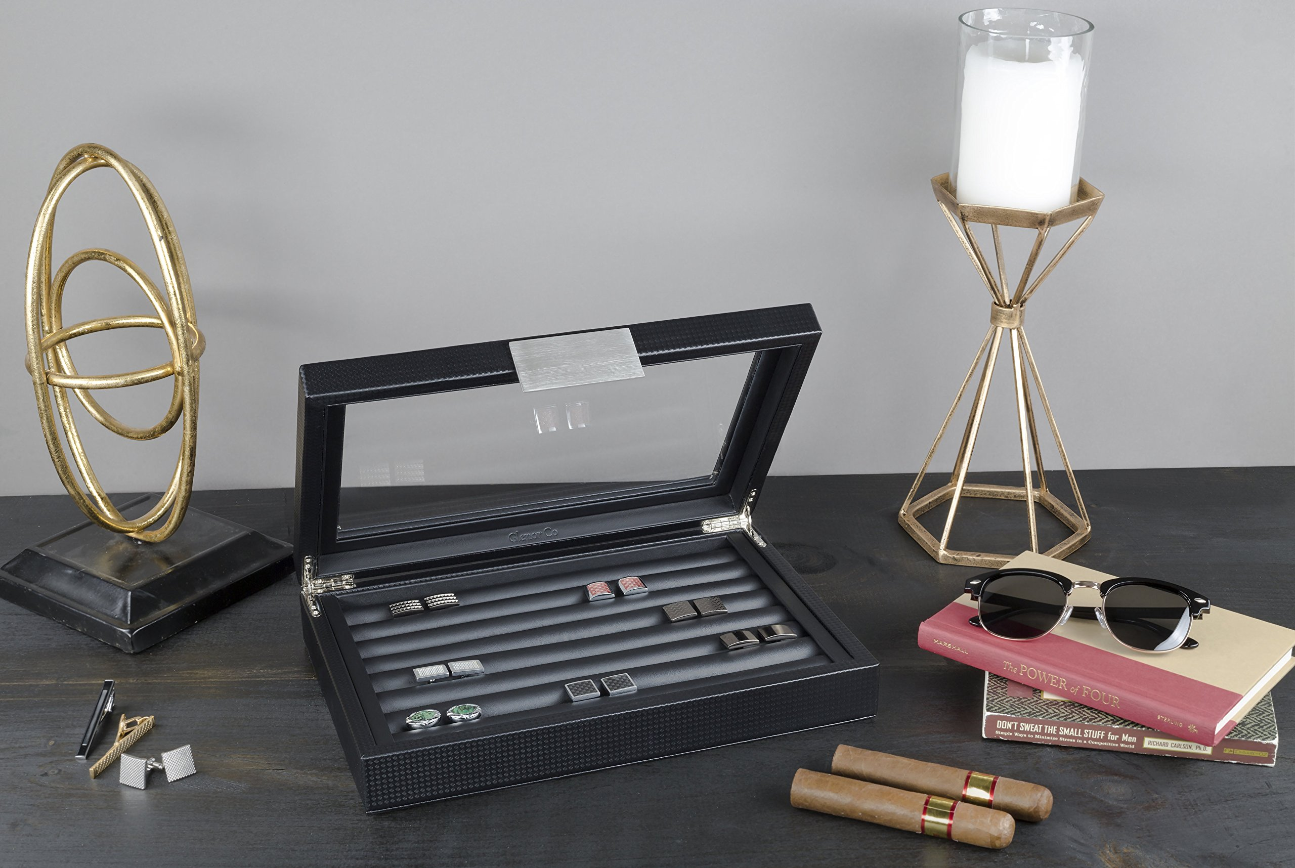 Glenor Co Cufflink Box for Men - Holds 70 Cufflinks - Luxury Display Jewelry Case -Carbon Fiber Design - Metal Buckle Holder, Large Glass Top - Black by Glenor Co (Image #2)