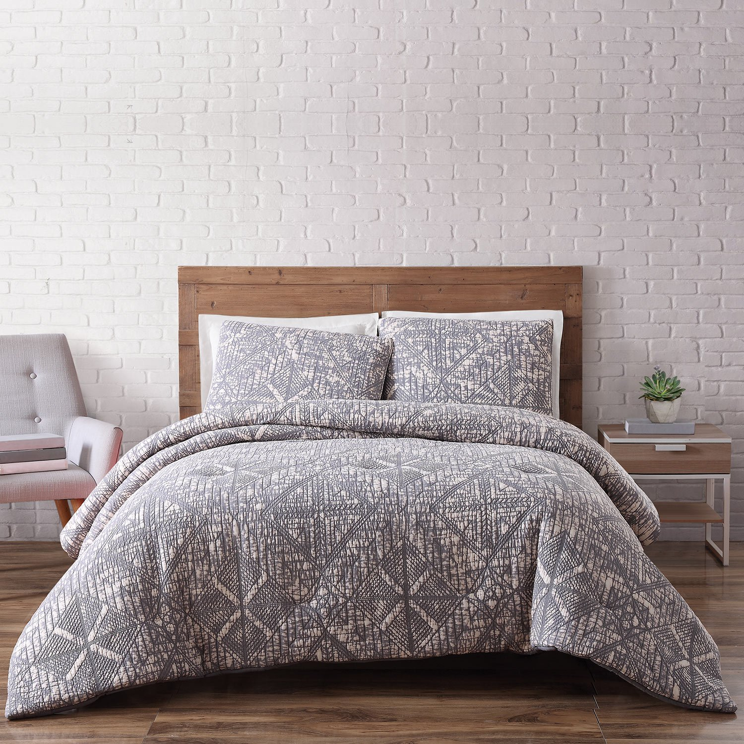 Brooklyn Loom Sand Washed Cotton Comforter Set, Full/Queen, Gray