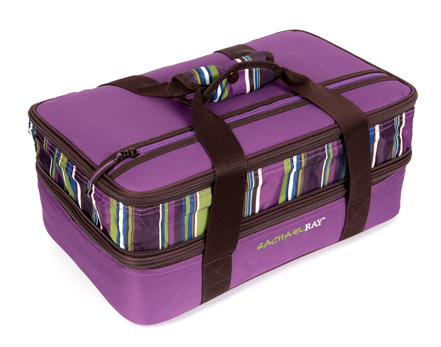 """Rachael Ray Expandable Lasagna Lugger, Double Casserole Carrier for Potluck Parties, Picnics, Tailgates - Fits two 9""""x13"""" Casserole Dishes, Purple"""