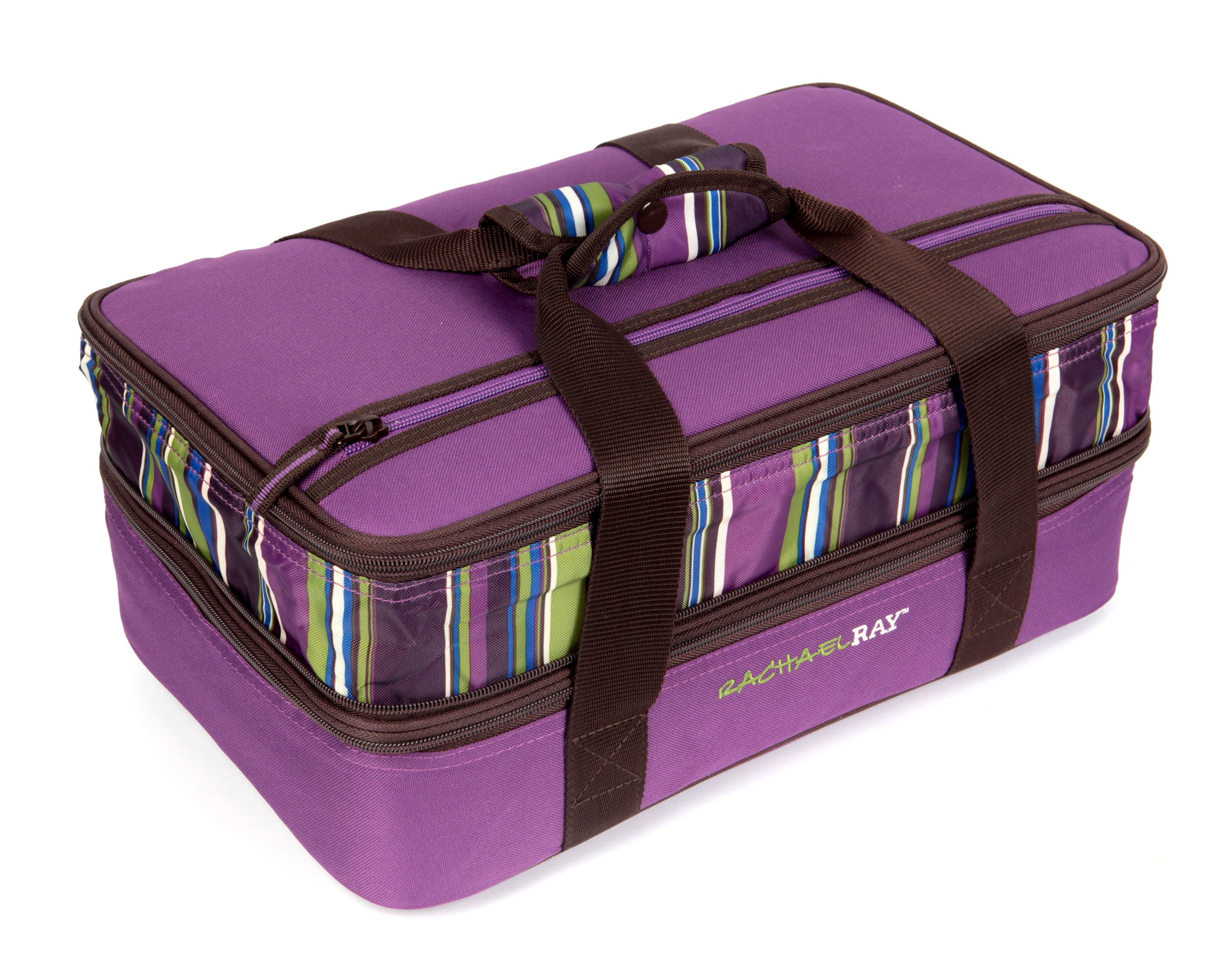 Rachael Ray Expandable Lasagna Lugger, Double Casserole Carrier for Potluck Parties, Picnics, Tailgates - Fits two 9''x13'' Casserole Dishes, Purple