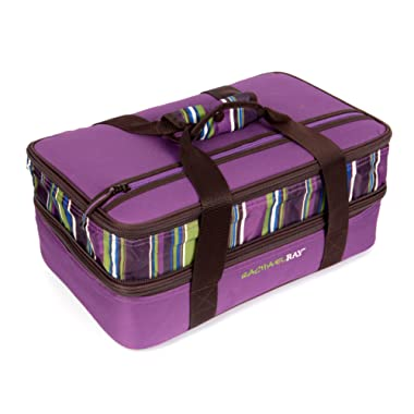 Rachael Ray Expandable Lasagna Lugger, Double Casserole Carrier for Potluck Parties, Picnics, Tailgates - Fits two 9 x13  Casserole Dishes, Purple