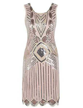 d9eb8c00 PrettyGuide Women 1920s Gatsby Sequin Art Deco Scalloped Hem Inspired Flapper  Dress Champagne Pink M