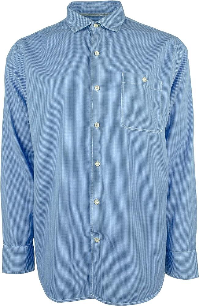 Tommy Bahama Mens Shirts Long Sleeve Twill Check Shirt (Medium, Zephyr Blue): Amazon.es: Ropa y accesorios