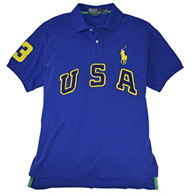 Polo Ralph Lauren Men\u0027s Custom Fit USA Big Pony Mesh Polo, S, Rugby Royal
