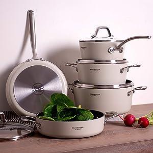 Fleischer & Wolf Nonstick Cookware sets 9-Pieces,White Aluminum Pots and Pans Sets Oven Safe/Induction Compatible/Dishwasher Safe