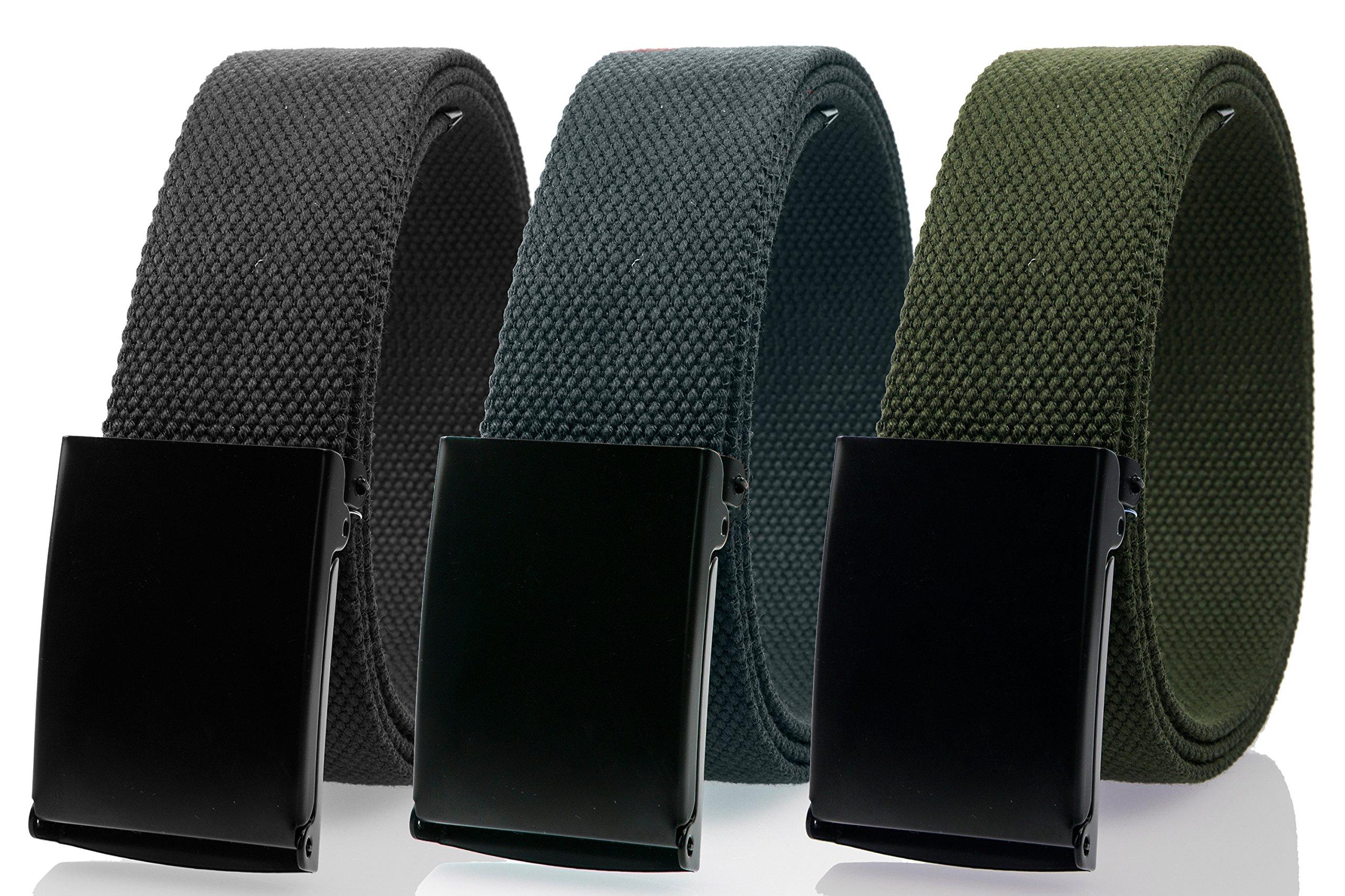 Gelante Fully Adjustable Canvas Web Belt with Black Flip Top Buckle 50'' Long (3 Pack: Black, Dark Gray, Olive)