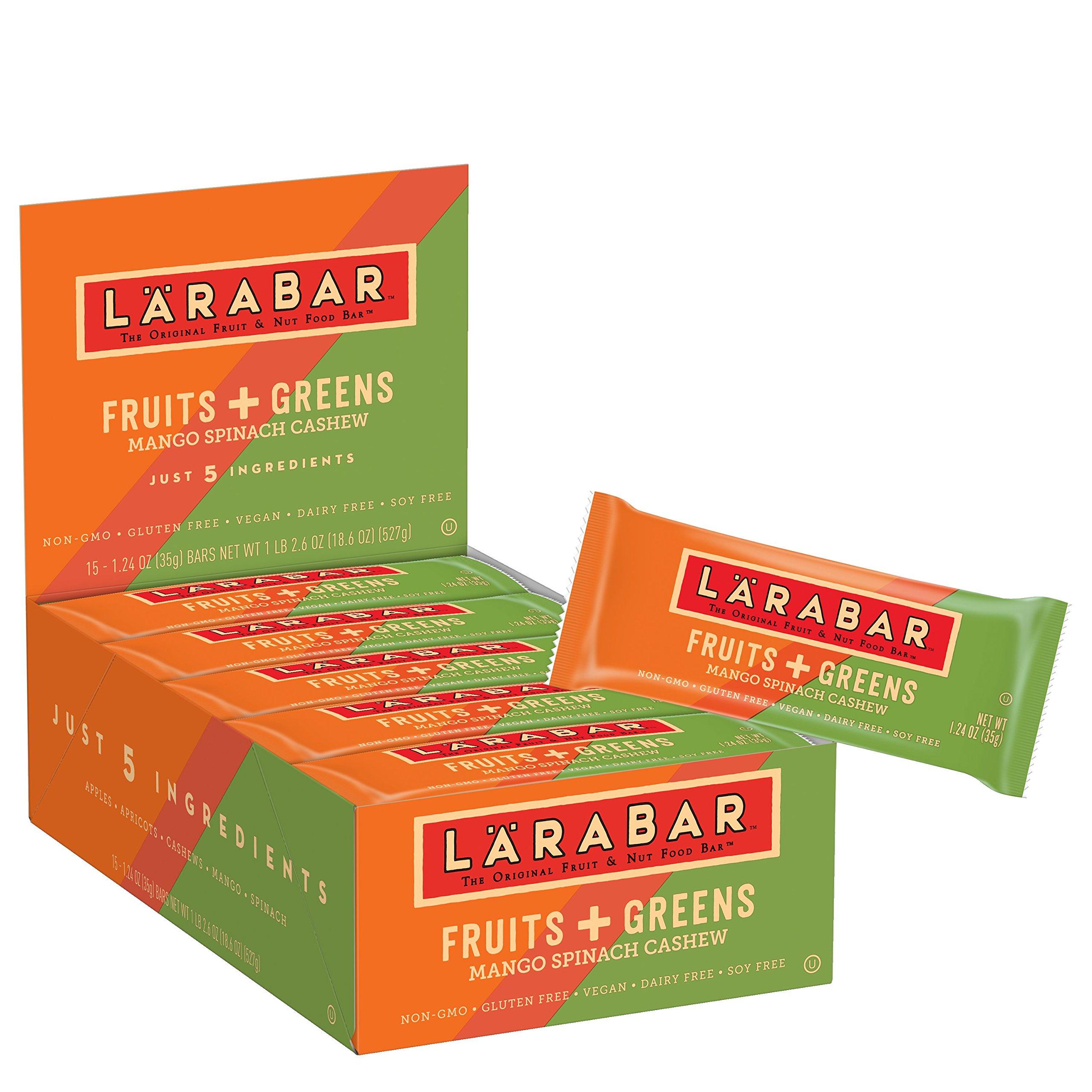LÄRABAR Larabar Gluten Free Bar, Fruits + Greens, Mango Spinach Cashew, 1.24 oz Bars (15 Count)