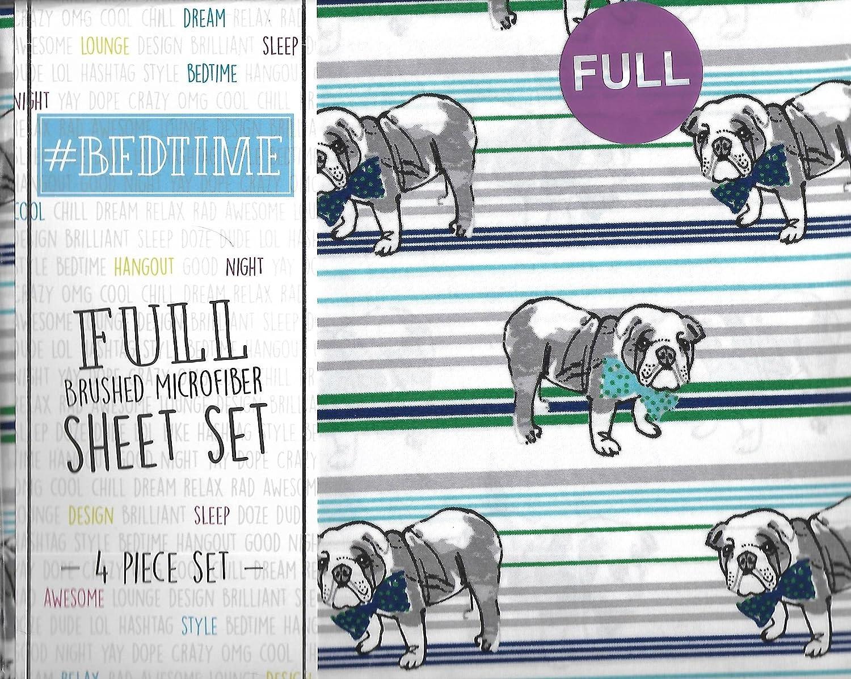 #Bedtime English Bulldogs and Bowties Stripe Full 4 Piece Full Sheet Set
