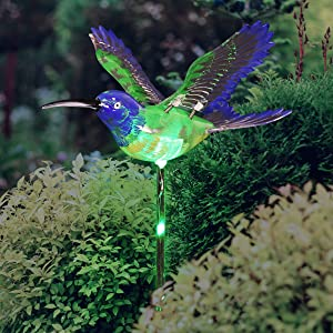 """Exhart WindyWings Green Hummingbird Lighted Garden Stake – Moving Wings Garden Hummingbird Stake w/LED's – UV-Treated & Hand Painted Bird Stake for Lawn & Yard Decor, 7""""x7""""x30.5"""""""