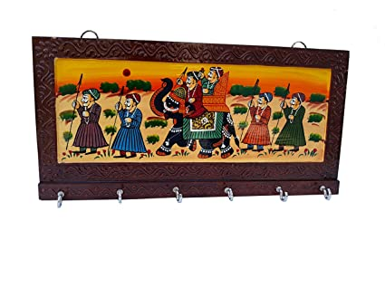 DS Handicraft Wooden Key Holder - Brown