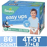 Pampers Easy Ups Diapers Size 6 (4T-5T), Pull On Disposable Training Diaper for Boys, GIANT PACK, 86 Count