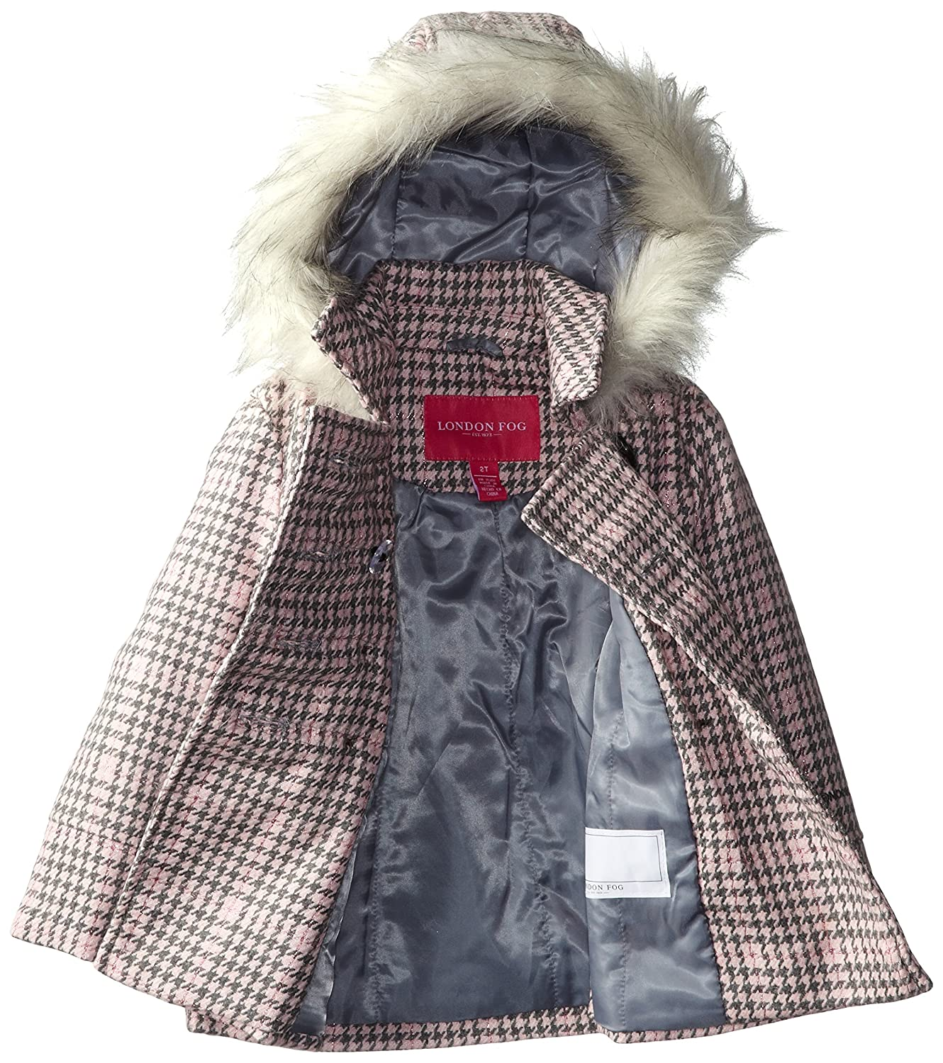 London Fog Little Girls Houndstooth Plaid Faux Wool Coat
