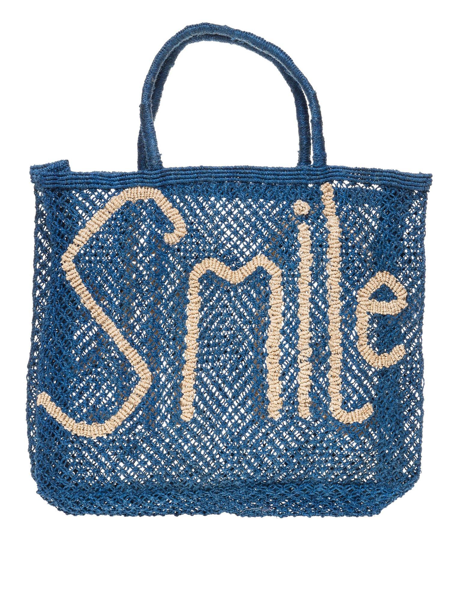 The Jacksons Women's Smile Women's Blue Large Jute Bag Blue