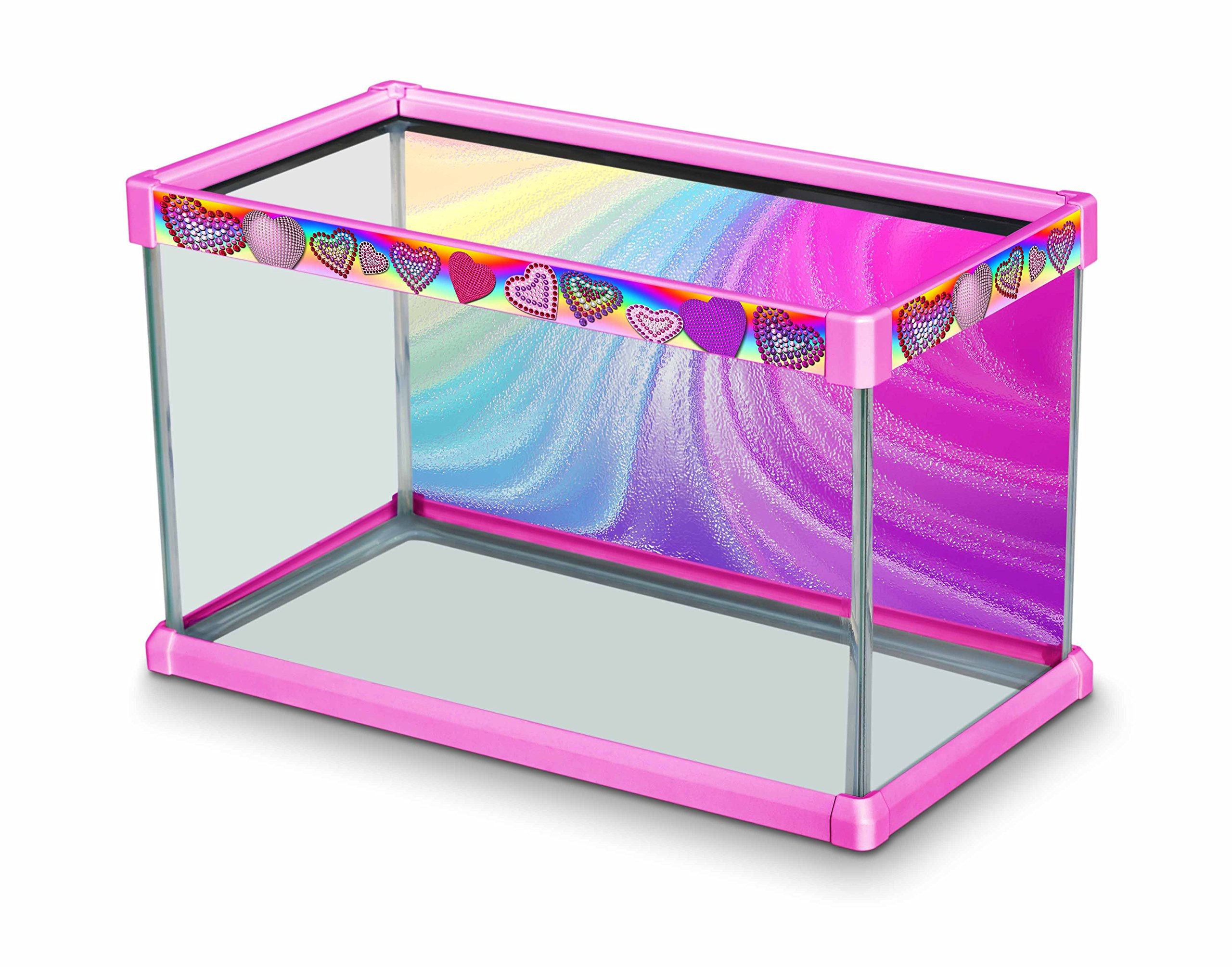 Elive Aquarium Fish Tank Decorative Frame Kit with Background for 10 Gallon Tanks (20'' x 10'' x 12''), Playful Pink - Bedazzled Heart Design by Elive