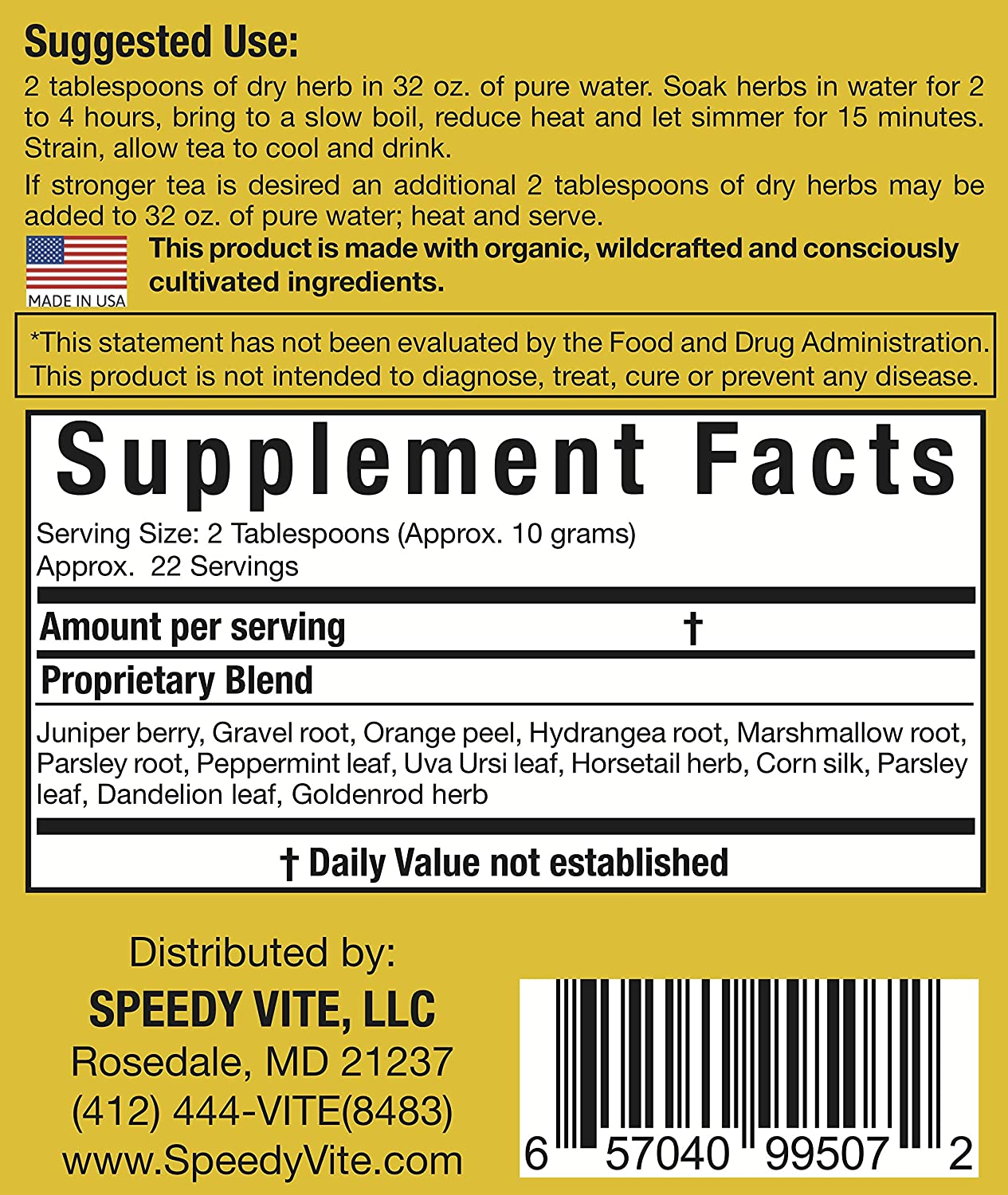SpeedyVite Kidney Bladder Tea 8oz Herbal Supplement Organic Cleanses supports urinary tract health – Marshmallow root Dandelion leaf Goldenrod Juniper Hydrangea more Natural Detox